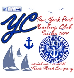 Yachting club grunge artwork for sportswear in cus vector