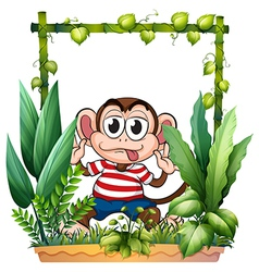 A monkey wearing a stripe shirt vector