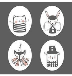 Animal circus portraits vector image