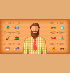 Hipster man horizontal banner brown cartoon style vector