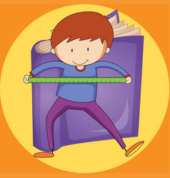 boy and ruler with purple book background vector image