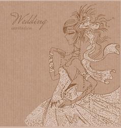Wedding invitation with bride vector