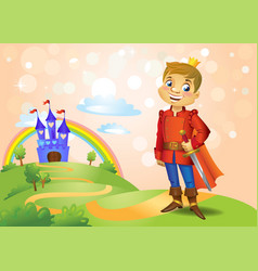 fairy tale castle and handsome prince vector image