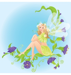 Little cute forest fairy sitting on beautiful wild vector