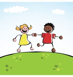 Two kids holding hands vector