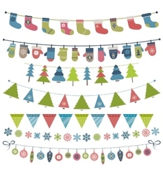 Christmas flags and garland set vector