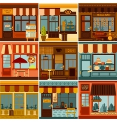 Restaurant and shop facades set vector