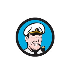Smiling sea captain smoking pipe circle retro vector