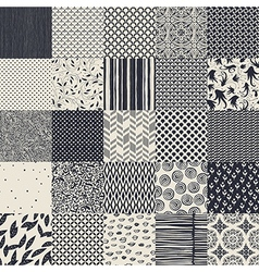 25 seamless different monochrome patterns vector