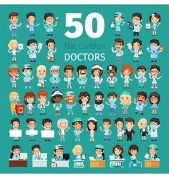 Cartoon doctors big collection vector