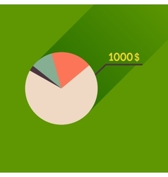 Flat icon with long shadow money chart vector