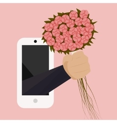 A bouquet of wild flowers with a hand from the vector image