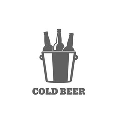beer bottle logo cold beer icon on white vector image vector image