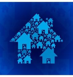 Blue home symbol on dark blue background vector