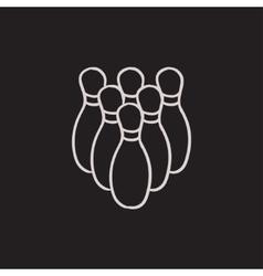 Bowling pins sketch icon vector image vector image
