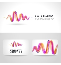 Business card template set abstract pink wave vector image vector image