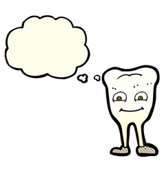 Cartoon yellowing tooth with thought bubble vector