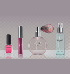 collection of glass cosmetic bottles in realistic vector image