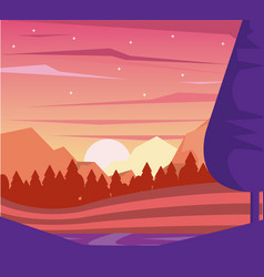 Colorful background of dawn landscape of mountains vector