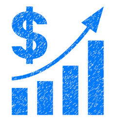 Dollar bar chart trend grunge icon vector
