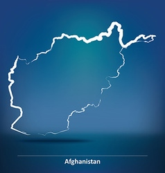 Doodle map of afghanistan vector