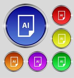 File ai icon sign round symbol on bright colourful vector