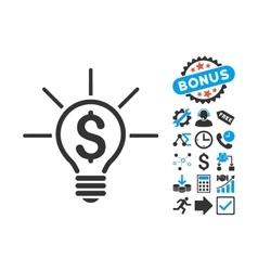 Financial Idea Bulb Flat Icon with Bonus vector image vector image