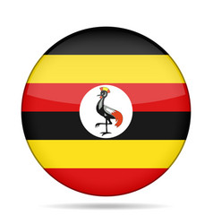 Flag of uganda shiny round button vector