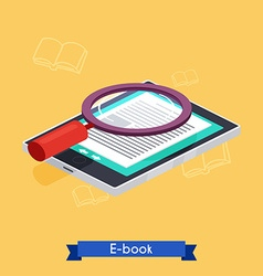 Flat 3d isometric e-book reader and books vector