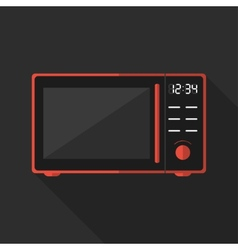 Flat microwave with long shadow icon vector image vector image
