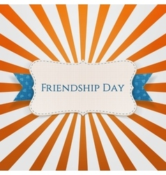 Friendship day paper tag with ribbon and shadow vector