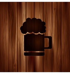Glass of beer web icon wooden texture vector
