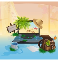 Laptop with the seascape vector image