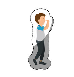 Man athlete practicing exercise avatar character vector