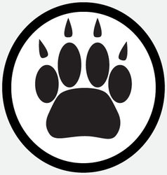 Monochrome icon foot print animal vector image vector image
