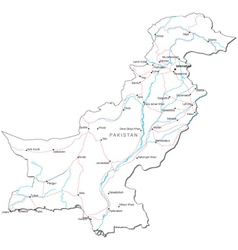 Pakistan Black White Map vector image