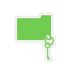 Paper sticker on white background key folder vector