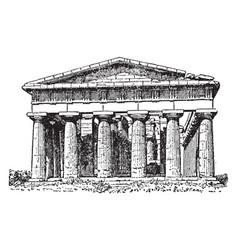 Poseidon temple at paestum vintage engraving vector