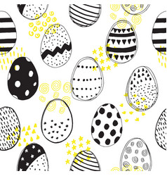 seamless pattern with easter eggs doodles vector image vector image