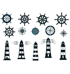 Set of marine or nautical themed icons vector image vector image