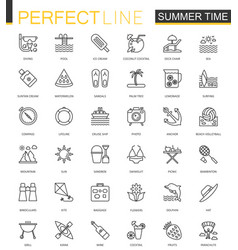 Summer time thin line web icons set vacation vector