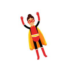 superhero teen girl in orange cape flying vector image vector image