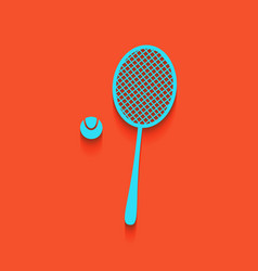 Tennis racquet with ball sign whitish vector