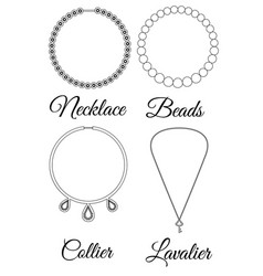 types of necklaces outline vector image vector image