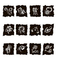 Zodiac sign silhouettes set of horoscope symbols vector image