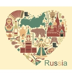 Symbols of russia in the form of heart vector