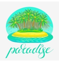 tropical island with lettering vector image