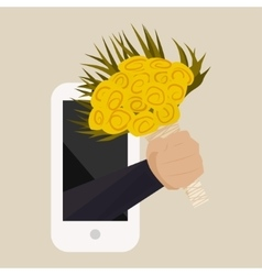 A bouquet of yellow roses with hand from the phone vector