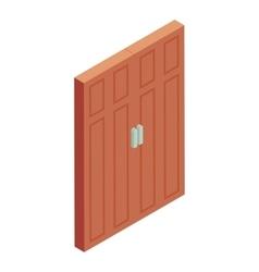 Brown door icon cartoon style vector