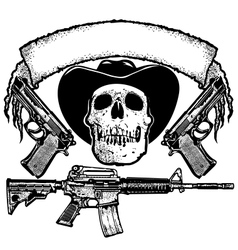skull guns and banner vector image